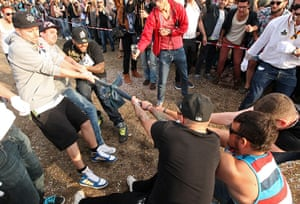 Hipster Olympics: Teams compete in the Skinny Jeans Tug-O-War event