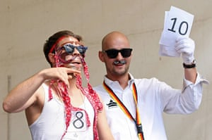 Hipster Olympics: A contestant in the make-your-own-ironic-Hipster-moustache competition