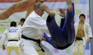 Vladimir Putin takes part in a judo training session on 22 December 2010.