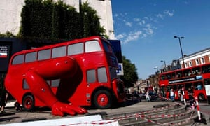 London booster, a London bus that does press-ups designed by Czech artist David Cerny, Olympics