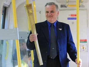 The Olympic torch inside a special tube train on 24 July 2012. Photograph: Gareth Fuller/Locog/PA