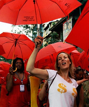 Sex workers march for rights and Aids awareness in Kolkata