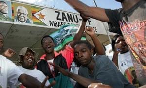 Supporters of Zimbabwe's ruling party Zanu-PF