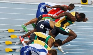 Usain Bolt makes a false start in the 100m at Daegu in August 2011.