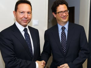 Greek finance minister Yannis Stournaras and Charles Collyns, the US Treasury's assistant secretary for international finance