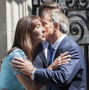 Politicians kiss: Samantha Cameron and Tony Blair, July 2012