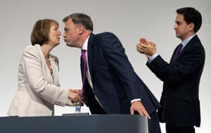 Politicians kiss: Harriet Harman, Ed Balls and Ed Miliband, Labour party conference, 2011
