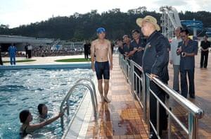 Kim Jong-un and wife: Kim Jong-Un visits the swimming pool