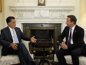 Mitt Romney meets David Cameron at 10 Downing Street.