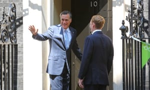 Mitt Romney at No 10 on 26 July 2012. Photograph: Paul Cunningham/Corbis