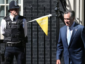 Mitt Romney leaves 10 Downing Street after meeting with prime minister David Cameron.
