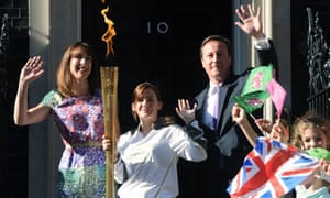 David and Samantha Cameron welcome Olympic torchbearer Kate Nesbit to Downing Street