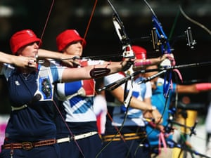Naomi Folkard of Great Britain during archery practice at Lord's on 25 July 2012. Photograph: Paul Gilham/Getty Images