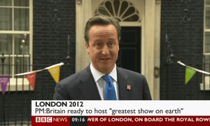 David Cameron on the day of the Olympic opening ceremony, 27 July 2012.