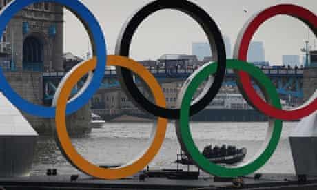 Olympic rings near Tower Bridge, London