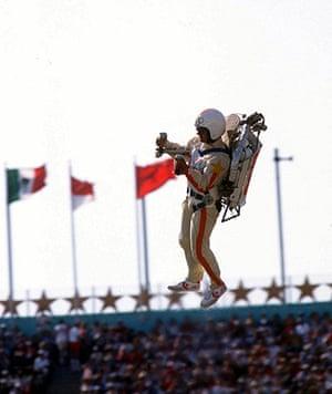 Opening ceremonies: Jetpack man at 1984 LA Olympics opening ceremony