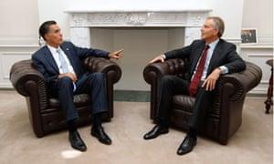 Mitt Romney meets former British Tony Blair in London