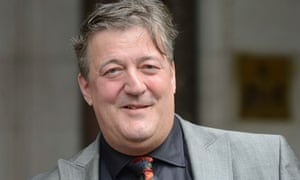 Stephen Fry outside the high court in London
