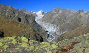 The Fiesch glacier in the canton of Valais, Switzerland