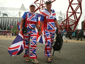 A couple dressed in matching Union Flag clothing