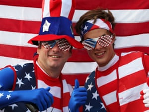 The American fans go one better and cover themselves head to toe in stars and strips
