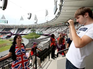 A British fan has her photo taken