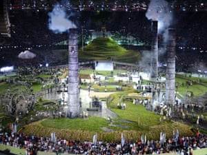 Huge chimneys emerge from the ground to symbolise the industrial revolution