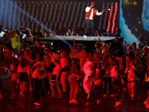 Dizzee Rascal performs during the Opening Ceremony of the London 2012 Olympic Games