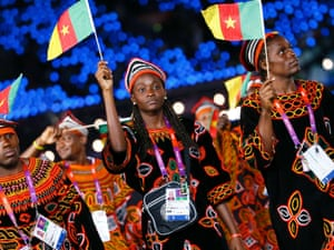 Members of Cameroon's contingent take part in the athletes parade