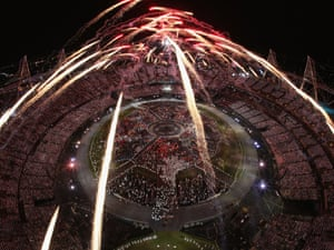 Fireworks go off over the Olympic Stadium