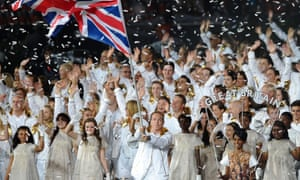 Sir Chris Hoy leads in Team GB at the London 2012 opening ceremony