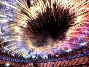 Fireworks burst above the stadium