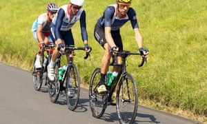Bradley Wiggins leads the British road cycling team up Box Hill earlier  this week.