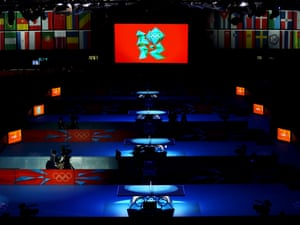 Empty tables await the start of the table tennis competition