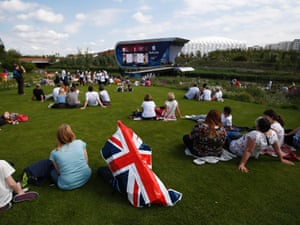 Spectators watch the Park Live broadcast at the beautifully landscaped Olympic Park