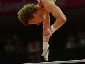 Epke Zonderland of Netherlands on the horizontal bar at the men's gymnastics