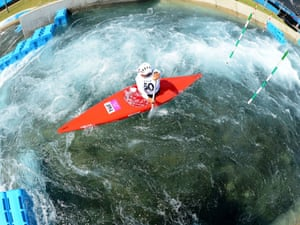 Japan's Takuya Haneda practises during a canoe men's slalom session at Lee Valley Water Park