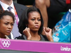 Serena's victory was watched by Michelle Obama and former USA gymnast Dominique Dawes
