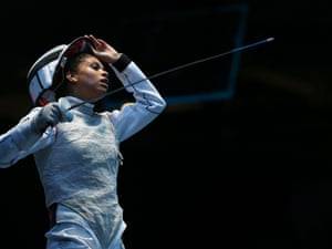 Ysaora Thibus of France reacts in her women's foil individual fencing match against Inna Deriglazova of Russia
