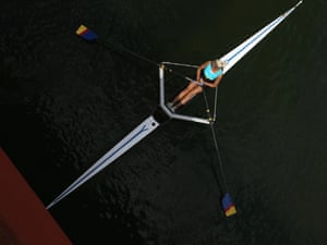 A nicely composed overhead image of Kazakhstan's Svetlana Germanovich competing in the women's single sculls