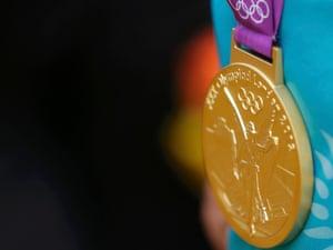 The gold medal of Kazakhstan's Alexandr Vinokurov