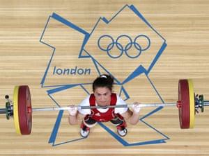 Turkey's Nurdan Karagoz competes in the Women's 48kg Group A weightlifting