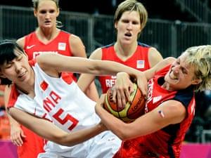 China's Nan Chen fights for the ball with Czech Republic's Hana Horakova