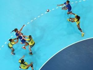Croatia's Andrea Penezic passes the ball during their Women's Handball preliminary Group A match against Brazil