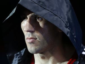 Armenia's Andranik Hakobyan is focused as he walks to the ring before his middle weight 75-kg preliminary boxing match against USA's Terrell Gausha