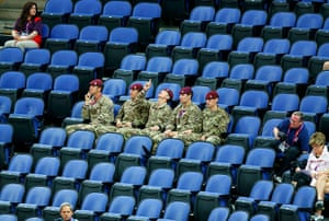 Olympics seating: Soldiers watch the women's gymnastics qualification