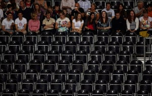 Olympics seating: Spectators at the men's Group A volleyball match