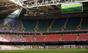 Olympics seating: A general view of empty seats at the Womens Football