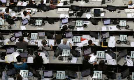 Behind the scenes: journalists work in the tribune during the women's qualification of the artistic gymnastics event at the 02 North Greenwich Arena. Photograph: Thomas Coex