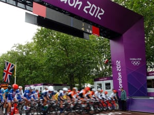 The cyclists set off from The Mall